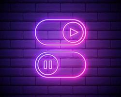 allumer et éteindre la lampe néon interrupteur à bascule bouton. lire et mettre en pause les symboles multimédias. boutons de commutation. illustration vectorielle. illustration vectorielle de lumière fluorescente isolée sur mur de brique vecteur