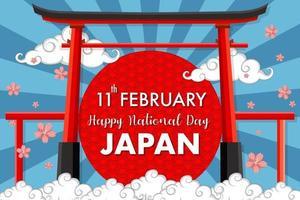bannière de la fête nationale du japon heureux avec porte torii sur fond de rayons bleus vecteur