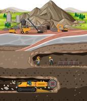 paysage de l'industrie des mines de charbon avec souterrain vecteur