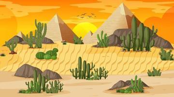paysage forestier désertique au coucher du soleil scène avec pyramide de gizeh vecteur