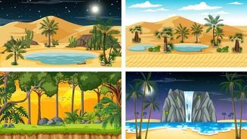 quatre scènes horizontales de nature différente vecteur