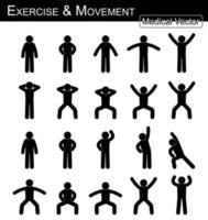 exercice et mouvement. avancer pas à pas. vecteur simple d'homme de bâton plat. concept médical, scientifique et de santé.