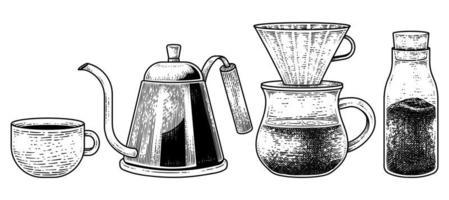 ensemble de vecteurs de croquis d'outils de cafetière. une tasse de café, une bouilloire goutte à goutte, un goutteur et une bouteille de café instantané illustration dessinée à la main vecteur