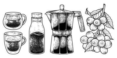 ensemble de vecteurs de croquis d'outils de cafetière. verres, bouteille de café instantané, pot d'espresso ou de moka et une branche de café avec des baies illustration dessinée à la main vecteur