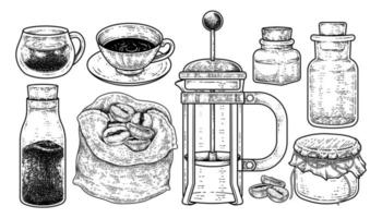ensemble de vecteurs de croquis d'outils de cafetière. tasses, bouteille de café instantané, grains de café dans un sac, presse française et bouteilles illustration dessinée à la main vecteur