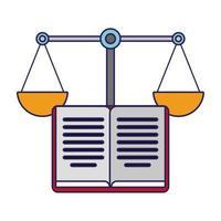 livre ouvert et symbole d'équilibre de la justice vecteur