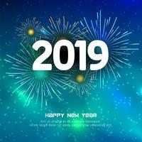 Abstrait joyeux nouvel an 2019 fond coloré vecteur