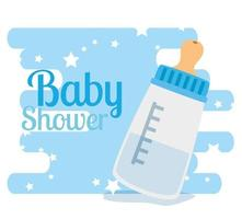 carte de douche de bébé avec bouteille de lait et décoration d'étoiles vecteur