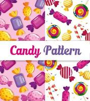 motif de bonbons avec de délicieux caramels vecteur