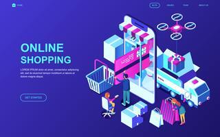 Bannière Web sur les achats en ligne vecteur
