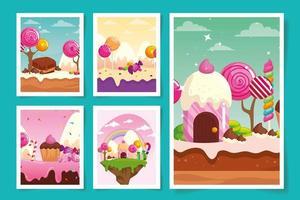 ensemble de scènes pays des bonbons avec des caramels vecteur