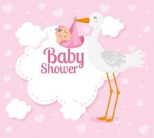 carte de douche de bébé avec une jolie cigogne et une décoration vecteur