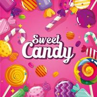 affiche de bonbons sucrés aux caramels vecteur