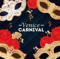 affiche du carnaval de venise avec masques et décoration vecteur