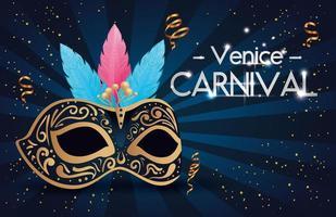 affiche du carnaval de venise et masque avec plumes vecteur