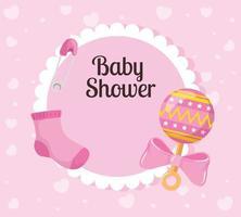 carte de douche de bébé avec chaussette et décoration vecteur