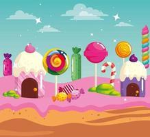 pays des bonbons avec des maisons cupcake et caramels vecteur