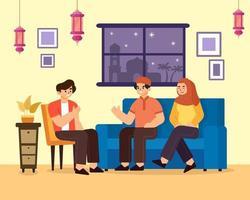 une famille visitant la maison d'un parent vecteur