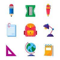 icône de fournitures d'école stationnaire vecteur