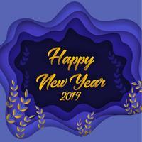 Bonne année 2019 papier coloré coupé fond de carte de voeux