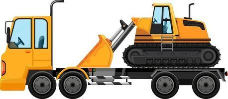 camion de remorquage transportant un fond isolé de chargeur frontal vecteur