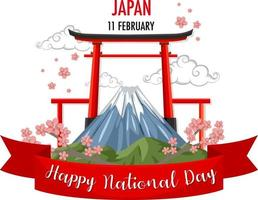 bannière de la fête nationale du japon avec porte du sanctuaire torii vecteur
