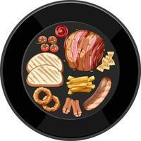 brunch ou petit-déjeuner dans un plat de style dessin animé sur la table vecteur