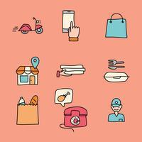 Icônes Doodled À propos des commandes en ligne vecteur