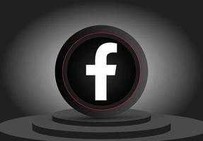 icône facebook 3d de médias sociaux vecteur