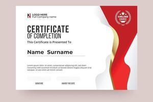 modèle de certificat d'achèvement en ligne. couleur rouge et blanche, design clair et style international. modifier et remplacer facilement le nom. vecteur eps10 prêt à imprimer.