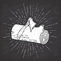 Étiquette vintage de journal d'arbre, croquis dessiné à la main, insigne rétro texturé grunge, impression de t-shirt de conception de typographie, illustration vectorielle vecteur