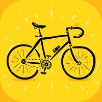 Vecteur vélo noir dessiné à la main