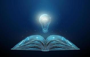 livre ouvert abstrait low poly avec point d'exclamation. vecteur