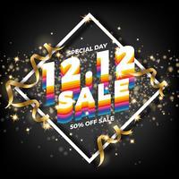 12.12 Fond de bannière de vente de magasinage jour. Poste de vente du 12 décembre vecteur