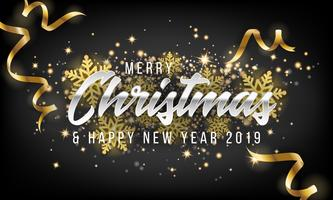Joyeux Noël et bonne année 2019 fond de carte de voeux vecteur