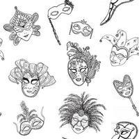modèle sans couture de masques de carnaval de venise italie. festival vénitien italien de croquis dessinés à la main. fond de dessin de griffonnage. vecteur