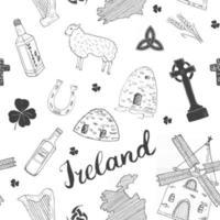 croquis de l'Irlande doodles modèle sans couture. Éléments irlandais avec drapeau et carte de l'Irlande, croix celtique, château, trèfle, harpe celtique, moulin et mouton, bouteilles de whisky et bière irlandaise, illustration vectorielle vecteur