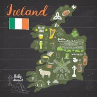 griffonnages de croquis de l'Irlande. Éléments irlandais dessinés à la main avec drapeau et carte de l'Irlande, croix celtique, château, trèfle, harpe celtique, moulin et mouton, bouteilles de whisky et bière irlandaise, illustration vectorielle vecteur