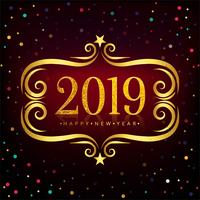 Fond coloré de la bonne année 2019 carte célébration vecteur