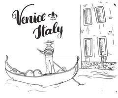 Venise Italie croquis dessinés à la main doodle gondolier et lettrage signe manuscrit, texte calligraphique grunge. illustration vectorielle vecteur