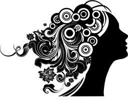 Fille aux cheveux floraux vecteur