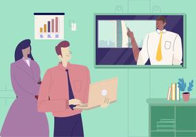 Illustration vectorielle de vidéoconférence Conférence d'affaires internationales vecteur