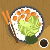 Illustration vectorielle de plat hawaïen Poke Bowl vecteur
