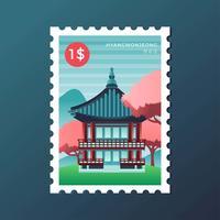 Cachet postal du pavillon Hyangwonjeong à Séoul