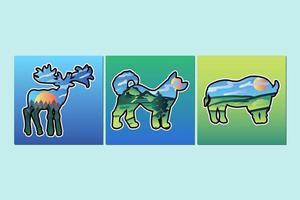 illustration de la double exposition des mammifères et de la nature vecteur