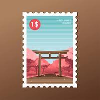 Printemps Tokyo Meiji Sanctuaire Torii Timbre-poste Vecteur