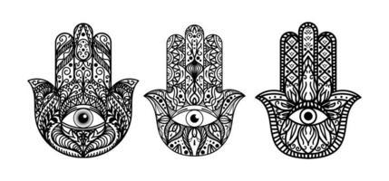 hamsa, ensemble d'illustrations monochromes à la main de fatima vecteur