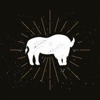 logo silhouette bison debout rétro vecteur