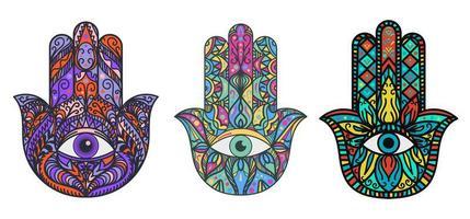 hamsa, ensemble d'illustrations de main de fatima vecteur