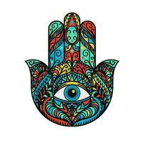 hamsa fatima main tradition amulette coloré symbole vecteur